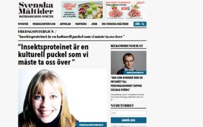 Svenska Måltider – Fredagsintervjun. Insekter som mat.